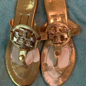 Tory Burch gold Miller sandals, used